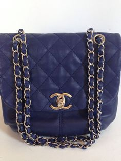 c8f1832e5bae Details about Auth NWT Chanel Trianon Cross body bag messanger tote Dark  Blue soft lambskin. Messenger Bag