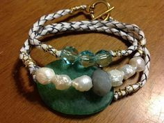 Agate...freshwater pearls amazite ....crystals. .leather bola cord