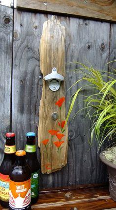 Hand Painted Driftwood Bottle Opener (Large Califronia Poppy)