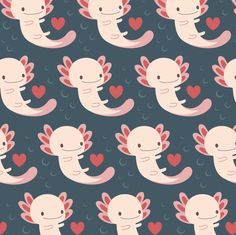 Axolotls hearts and bubbles fabric by petitspixels on Spoonflower - custom fabric
