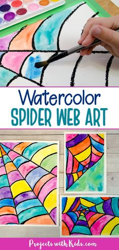 Watercolor resist spider web art projects for kids. Kids will love making this easy and colorful Halloween and fall painting idea! Halloween Art Projects, Fall Art Projects, Classroom Art Projects, Halloween Painting, Theme Halloween, School Art Projects, Art Classroom, Fall Crafts For Kids, Autumn Art Ideas For Kids