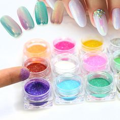 SWEET TREND 1g/Bottle New Colorful Mermaid Effect Nail Glitter Nail Art Decoration Tip Sparkly Powder Dust Nail Tool LAM01-12  Price: 0.53 USD