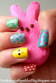 Colorful Easter Chick Nails, Polka Dot Nail Designs for Easter, Holiday Party Ideas #2014 #easter #chick #nails www.loveitsomuch.com