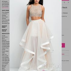 GORGEOUS Terani Couture two-piece prom gown BRAND NEW with tags still on!! I bought it at first not in my size and now I just bought it in my right size so I have two of the same dress before prom and I cannot return it. This was never used I am just trying to get rid of one and get most of my money back PLEASE ITS NEW PERFECT CONDITION (pictures show me wearing the size 0, not the brand new one I'm selling in a size 4) Terani Couture Dresses