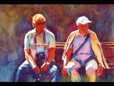 Painting a watercolour: Bench for two. - YouTube