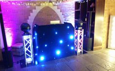 Our professional wedding DJ set-up in the cellar bar at the Kilworth House Hotel. This set-up includes sound and lighting equipment (moving heads and star-lit DJ booth).