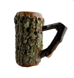 Large Wood Lathe Turned Bark On Tankard Ash Wood stein mug