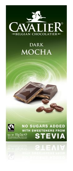Tablet with sweeteners from Stevia, dark chocolate with mocha filling. Cavalier the pioneer in no sugars added chocolate.