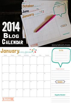 2014 Blog Calendar. It is time to set goals and get yourself organized for a new a better year of blogging!