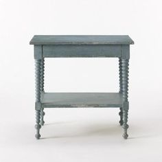 Rustic Turned Leg Bobbin-Style Leg Bedside Table in Hand Painted Antiqued Robin's Egg Blue Hidden Drawer with Dividers and Bottom Shelf No Custom Sizes or Colors Available #2,700