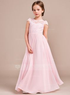 A-Line/Princess Scoop Neck Floor-Length Chiffon Lace Junior Bridesmaid Dress (009081155) #jjshouse
