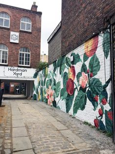 Kitchen Garden mural for Hardman Yard, Liverpool. Garden Fence Art, Garden Mural, Murals Street Art, Street Art Graffiti, Mural Wall Art, Mural Painting, Flower Mural, Wall Drawing, Building Art
