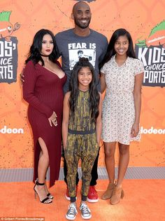 Maternity chic: Vanessa Bryant showed her baby bump on Thursday while attending the Kids' Choice Sports awards in Los Angeles with husband Kobe Bryant and their daughters