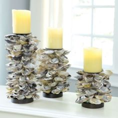 Oyster Shell Candle Holders   Ballard Designs Not wood, but living near PNW coast gonna DIY with all oyster shells collected over the years!
