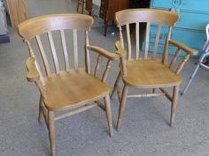 Pair of beech Cara chairs ---------------------- £40 (pc649)