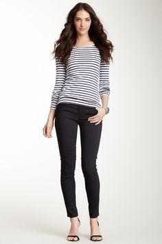 Mid Rise Cigarette Pant & stripes
