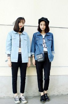 Inspiration 2: black jeans+denim jacket+white top