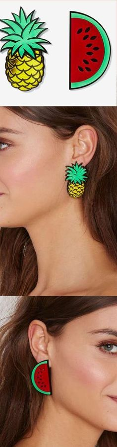 Watermelon and pineapple earrings - accessories ==