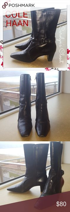 COLE HAAN Black Leather Boots sz 7B Gorgeous previously loved boots by Cole Haan. Normal wear. No defects! Cole Haan Shoes Ankle Boots & Booties
