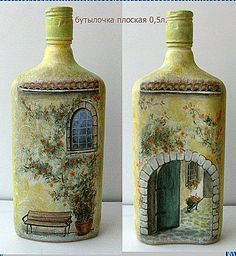 vases made with bottles - Quilling Deco Home Trends Recycled Glass Bottles, Glass Bottle Crafts, Wine Bottle Art, Painted Wine Bottles, Diy Bottle, Bottles And Jars, Decorative Bottles, Bottle Vase, Diy Crafts Vintage