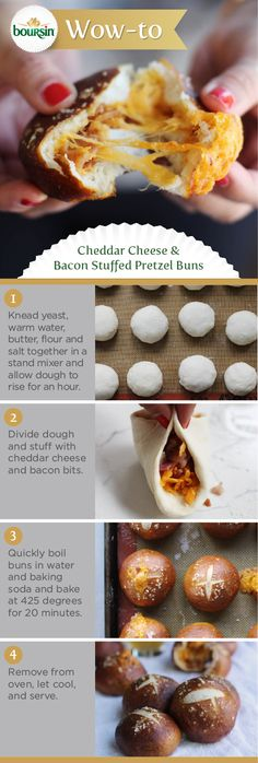 Make these cheese and bacon stuffed pretzel buns, and your guests will be cheering for you more than their favorite team during the big game.  Brought to you by the Boursin Purveyor of Wow Shop.