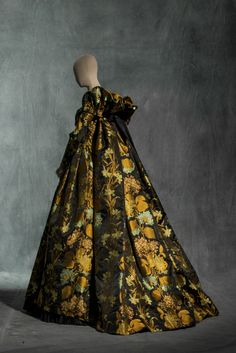 A Christian Lacroix Haute Couture evening dress in damask and pleated taffeta, Autumn/Winter 1992-93