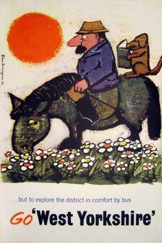 Vintage British Bus Travel Poster - West Yorkshire - England, 1960.