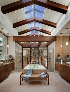 There are several choices when it comes to vaulted ceiling lighting fixtures. Vaulted ceiling lighting ideas often include skylights. Spa Design, Design Case, House Design, Design Ideas, Bath Design, Luxury Master Bathrooms, Dream Bathrooms, Beautiful Bathrooms, Spa Bathrooms