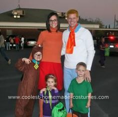 Coolest Scooby Doo and the Gang Group Costume: Our Scooby Doo and the Gang costumes are all custom and original. For Fred we used an old white long sleeve t-shirt, blue pants (altered to fit) that I
