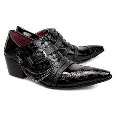 Black Patent Leather High Heel Pointy Hipster Fashion Dress Shoes Men SKU-1100198