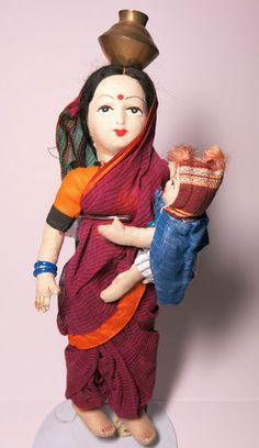 Vintage Indian Handmade Folk Art Cloth Boudoir Mother & Baby Doll, Maratha