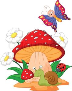 Stock vector of 'Vector illustration of Small animal cartoon' Diy And Crafts, Crafts For Kids, Paper Crafts, Fabric Painting, Painting & Drawing, Animal Drawings, Cute Drawings, Mushroom Art, Cute Clipart