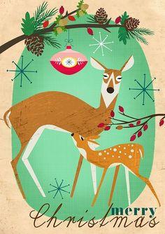 Merry Christmas vintage deers