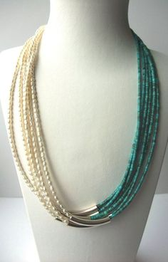 Turquoise and Pearl Multi-Strand Necklace Boho Jewelry Gift For Her June December Birthstone Seven Strands Necklace White Blue Green Colors by jean