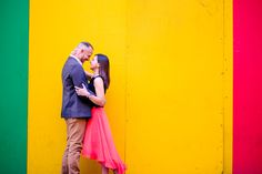 Colourful city engagement photo - Taken during a real engagement shoot in Cape Town, South Africa.  Incorporating some of the street backgrounds.