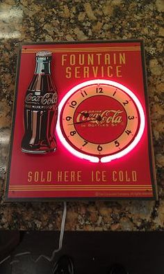 Neon Clock Tin Sign Coca Cola Coke Bottle 3D Display Diner Kitchen RARE | eBay