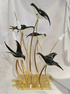 RARE Licio Zanetti Murano Italian Vetri Art Glass Birds Sculpture Gilded Signed | eBay