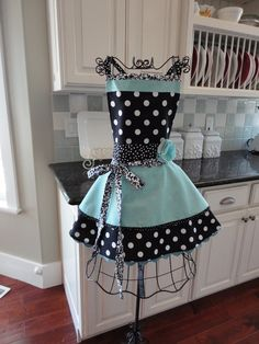 "Retro Women's Full Apron -4Retro Sisters ""Annabelle Style - Soft Tiffany Blue- Retro Modern. $37.50, via Etsy."