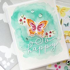 So Happy Card by Danielle Flanders for Papertrey Ink (April 2016)