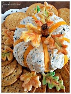 Cheddar & Chive Pumpkin Cheese Ball. Recipe here http://www.jamhands.net/2013/11/cheddar-chive-pumpkin-cheese-ball.html