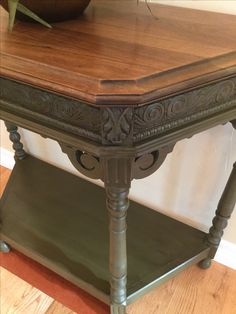 Accent table painted with Annie Sloan Olive and glazed with General Finishes Van Dyke Brown.