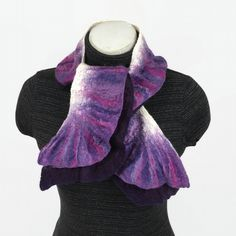 Narrow double ruffle nuno felted scarf in purple, shorter length £30.00