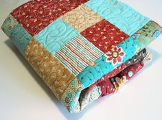 Queen Size Bed Quilt and Pillowcases Retro by QuiltSewPieceful, $365.00