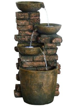 GIL826 Three Pot Fountain With LED Lights: Lighted Outdoor Fountain With Rustic Brick Accents