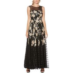 Laundry by Shelli Segal Women's Embroidered Floral Floor-Length Gown ($237) ❤ liked on Polyvore featuring dresses, gowns, black, floral evening gown, floral embroidered dress, metallic gown, sequin gown and embroidered dress