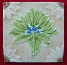 Antique Majolica Art Nouveau Tile Stylised Flower Green & Blue Alfred Meakin VGC
