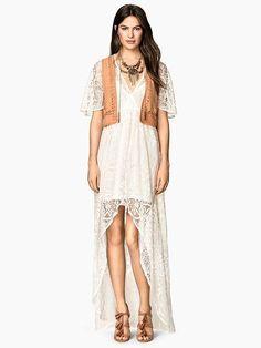 Vestido de Renda Longo Assimétrico - Compre Online