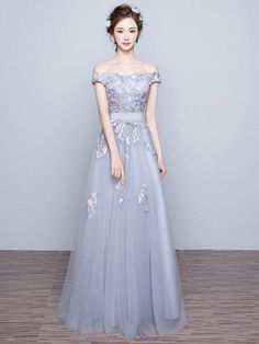 Dress: prom, prom dress, grey, grey dress, maxi, maxi dress, dressofgirl, love, lovely, pretty, cool, cute, cute dress, bridesmaid, amazing, floral, lace, lace dress, tulledress, off the shoulder, nice, sexy - Wheretoget
