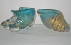 2 SMALL ARCHIMEDE SEGUSO Incredible MURANO Glass SEASHELL Sculptures BOWLS Gold
