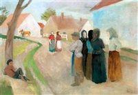 Street in Zebegény oil on canvas 47 x 67 cm